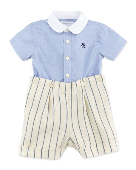 Woven Shirt & Striped Woven Shorts Set, 3-12 Months