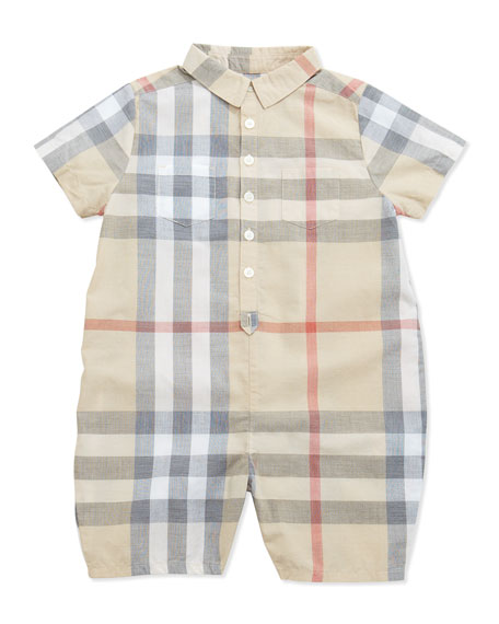 Burberry Kirk Infant Boys' Short-Sleeve Check Playsuit, 3-24