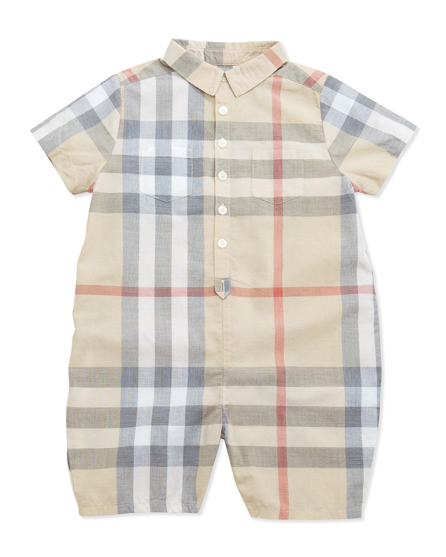 db690544249 Burberry Kirk Infant Boys  Short-Sleeve Check Playsuit