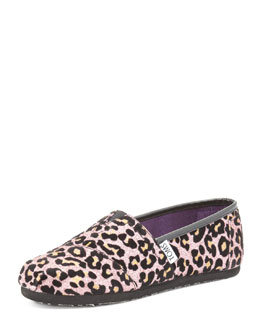 TOMS Youth Cheetah-Print Glitter Slip-On, Pink