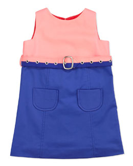 Milly Minis Combo Belted Dress, Coral, Sizes 2-6