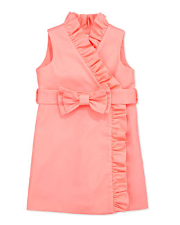 Milly Minis Ruffle Wrap Dress, Coral, Sizes 2-6
