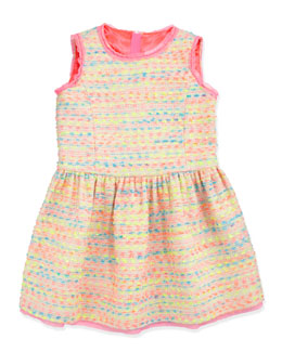 Milly Minis Neon Flecked Tweed Dress, Multi, Sizes 2-6