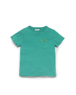 Gucci Washed Cotton-Jersey Tee, Green, Sizes 4-10