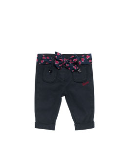 Gucci Cropped Heartbeat-Belt Pants, Blue, 0-24 Months