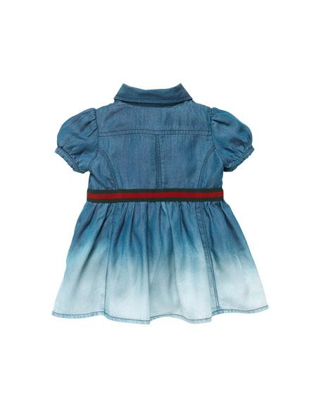 Ombre-Denim Dress with Web-Belt, Blue, 0-24 Months