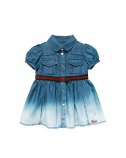 Gucci Ombre-Denim Dress with Web-Belt, Blue, 0-24 Months