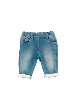 Gucci Stretch-Denim Leggings, Blue, 0-24 Months