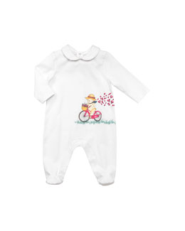 Gucci Teddy Bear-Print Long-Sleeve Playsuit, Ivory, 0-24 Months