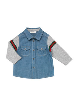 Gucci Washed Chambray Combo Shirt, Blue, 0-24 Months