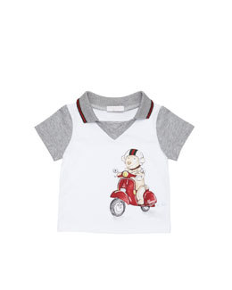 Gucci Teddy-Bear-Scooter-Print Polo, White, 0-24 Months
