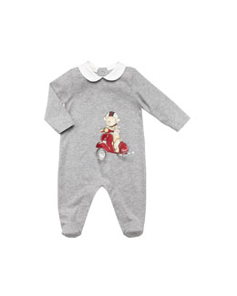 Gucci Teddy-Bear-Scooter-Print Playsuit, Gray, 0-24 Months