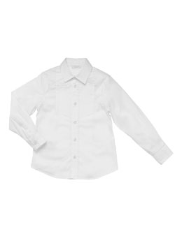 Gucci Long-Sleeve Tuxedo Shirt, White, Sizes 4-10