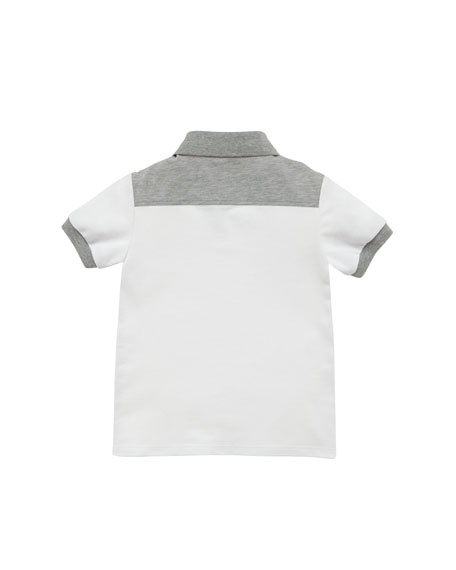 Short-Sleeve Pique Polo, White/Gray, Sizes 4-10