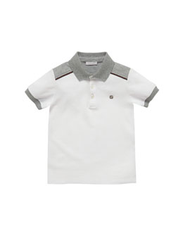 Gucci Short-Sleeve Pique Polo, White/Gray, Sizes 4-10