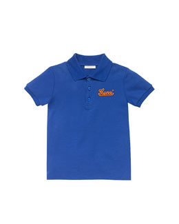 Gucci Gucci-Script Pique Polo, Blue/Orange, Sizes 4-10