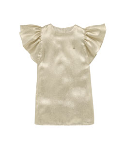 Gucci Liquid-Metallic Ruffle-Sleeve Dress, White, Sizes 4-10
