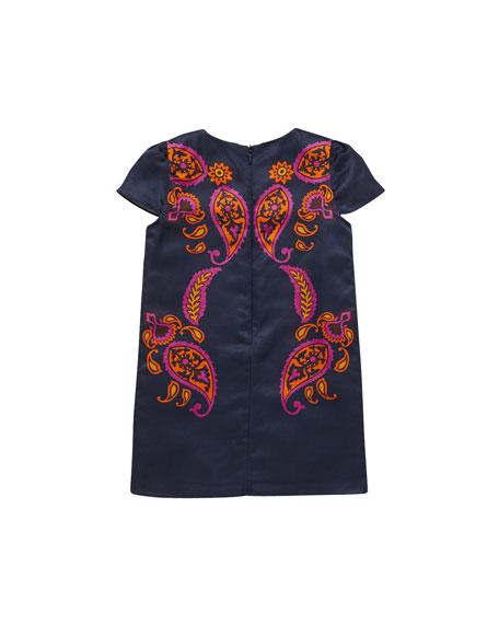 Paisley-Print Shift Dress, Multi, Sizes 4-10