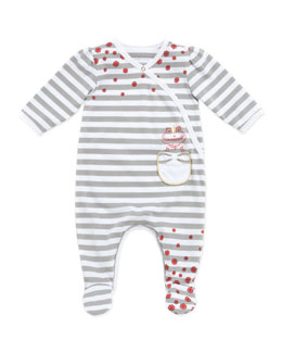 Little Marc Jacobs Baby Girls' Frog-Pocket Striped Footie, Gray, 3-18 Months