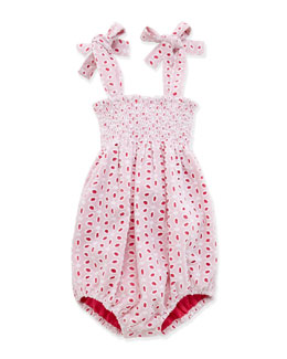 Busy Bees Ella Smocked Eyelet Playsuit, White, 3-24 Months