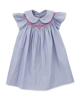 Busy Bees Sophie Smocked Bishop Dress, Denim