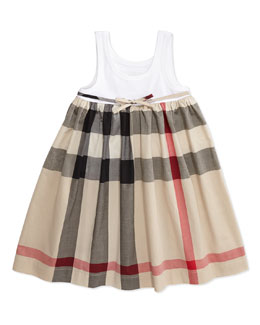 Burberry Ribbed Tank Combo Dress, White, Girls' 4Y-10Y