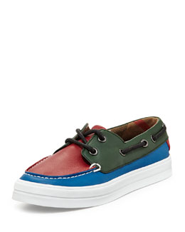 Burberry Kid's Leather Boat Shoe Trainers