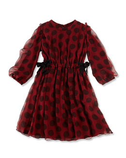 Lanvin Long-Sleeve Dot Silk Dress, Red/Black, Size 6