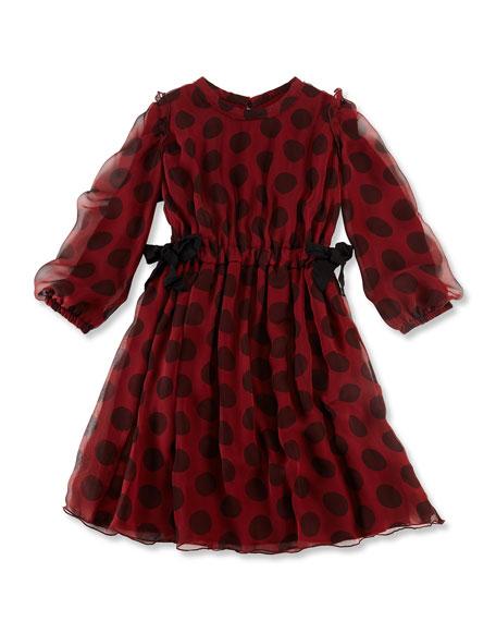 Long-Sleeve Dot Silk Dress, Red/Black, Size 6