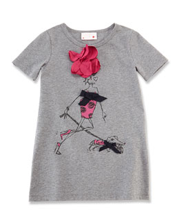 Lanvin Girls' Printed Wool Tee, Light Gray, Size 6