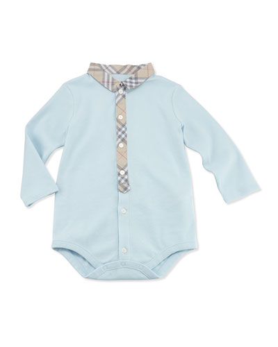 Burberry Newborn Check-Collar Playsuit, Light Blue