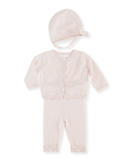 Burberry Cotton/Cashmere 3-Piece Newborn Set, Pink