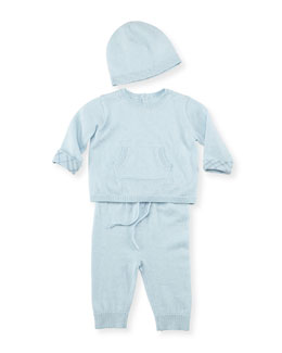 Burberry Cotton/Cashmere 3-Piece Newborn Set, Blue