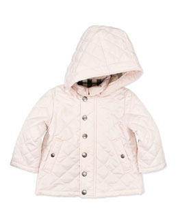 Burberry Quilted Hooded Jacket, Pink, 6M- 2Y