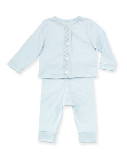 Burberry Check-Trim Knit Pajamas, Light Blue, 3-18 Months