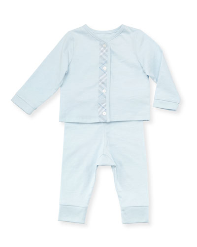Check-Trim Knit Pajamas, Light Blue, 3-18 Months