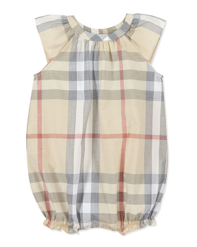Burberry Check Ruffled Playsuit, Taupe, 3-18 Months