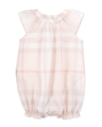 Burberry Check Ruffled Playsuit, Pink, 3-18 Months