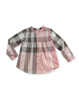 Burberry Check Pintuck Long-Sleeve Shirt, Light Pink, 4Y-10Y