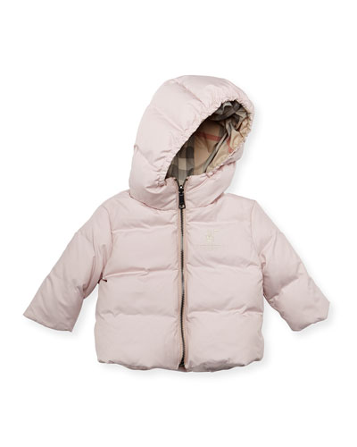 Burberry Quilted Hooded Jacket, Ice Pink, 3-24 Months