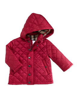 Burberry Quilted Hooded Nylon Jacket, Pink, 6M-2Y