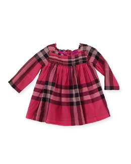 Burberry Pleated-Bodice Check Dress, Fuchsia, 3-18 Months