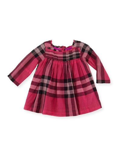 Pleated-Bodice Check Dress, Fuchsia, 3-18 Months