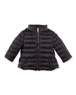 Burberry Shiny Nylon Puffer Coat, Black, 6-24 Months