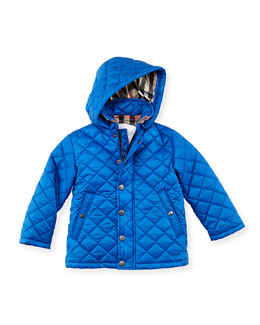 Burberry Quilted Hooded Nylon Jacket, Periwinkle