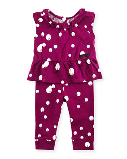 Burberry Long-Sleeve Peplum Shirt, Cap-Sleeve Peplum Top & Leggings Set, Fuchsia, 3-18 Months