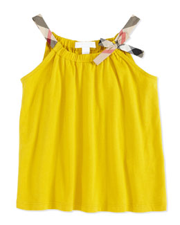 Burberry Check-Strap Jersey Top, Yellow, Girls' 4Y-10Y