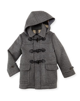 Burberry Boys' Wool Hooded Coat, Gray, 4Y-10Y