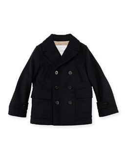 Burberry Boys' Cashmere-Wool Coat, Navy, 4Y-10Y