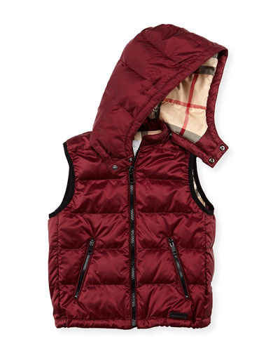 Burberry Boys' Hooded Puffer Vest, Maroon, 4Y-10Y